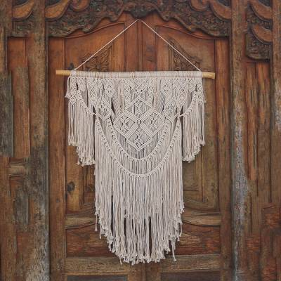 Cotton wall hanging, 'Bali Fringe' - Handcrafted Cotton Wall Hanging from Bali