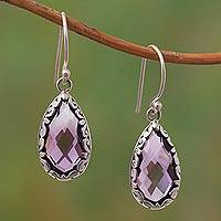 Amethyst dangle earrings, 'Glimmering Swirls'