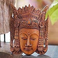 Wood mask, 'Beauty of Cili' - Hand Carved Suar Wood Mask from Bali