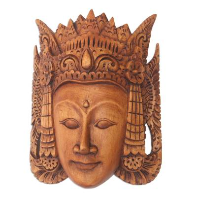 Hand Carved Suar Wood Mask from Bali