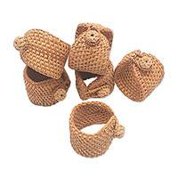 Bamboo and natural fiber napkin rings, 'Dinner Charm' (set of 6) - Bamboo and Natural Fiber Napkin Rings from Bali (Set of 6)