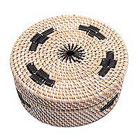 Bamboo and plastic mini basket, 'Lombok Moon' - Handwoven Bamboo and Plastic Mini Basket from Bali