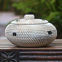 Bamboo and plastic basket, 'Sasak Treasure' - Handwoven Bamboo and Plastic Lidded Basket from Bali