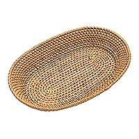 Bamboo and natural fiber basket, 'Trawangan Beauty' - Bamboo and Natural Fiber Oval Basket from Bali