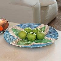 Woven bamboo round tray, 'Four Leaves' - Bamboo Tray in Green and Blue from Bali