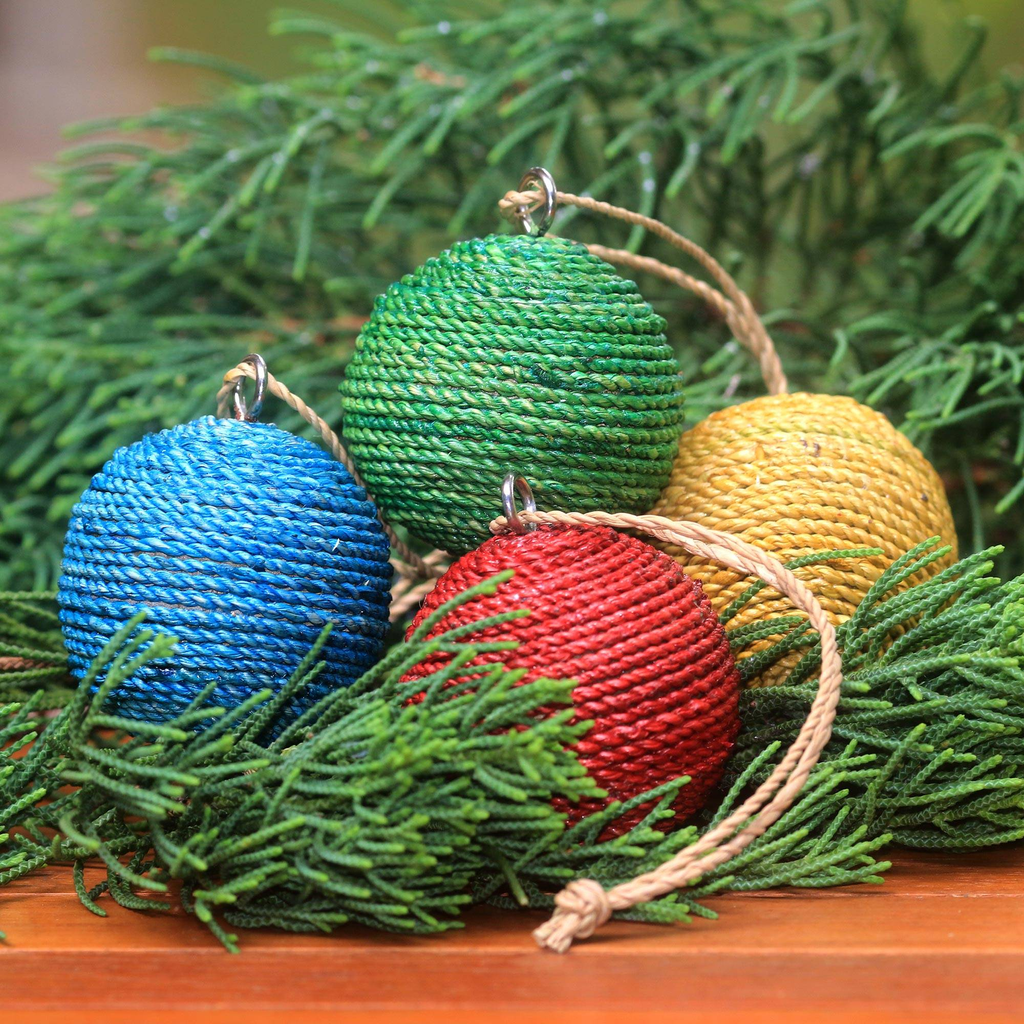 Round Natural Fiber And Wood Ornaments From Bali Set Of 4 Colorful Orbs Novica