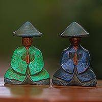 Wood figurines, 'Farmer Couple' (pair) - Green and Blue Wood Farmer Figurines from Bali (Pair)