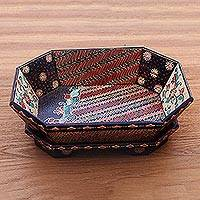 Batik wood catchall, 'Floral Parang' - Hand-Painted Parang Motif Batik Wood Catchall from Java