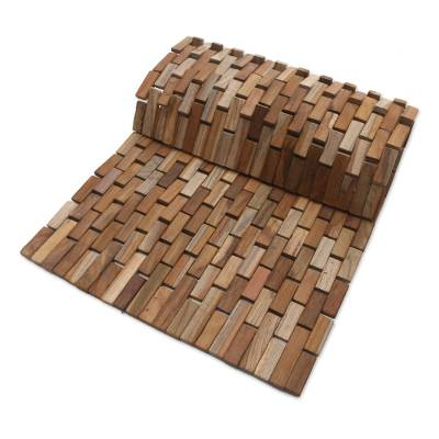 Teakwood door mat, 'Jogja Pave' (27.5 inch) - Handmade Teakwood Door Mat from Bali (27.5 inch)