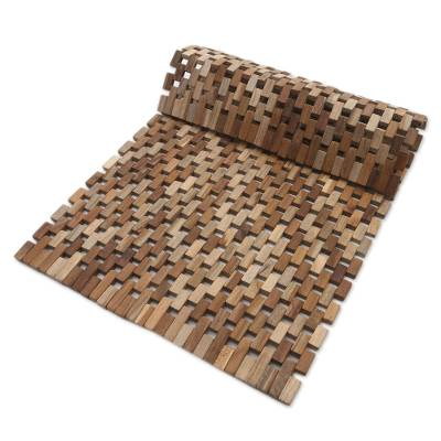 Teakwood door mat, 'Jogja Pave' (27 inch) - Handmade Teakwood Door Mat from Bali (27 inch)