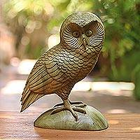 Wood sculpture, 'Intelligent Owl'