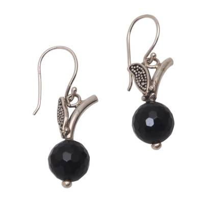 Black Onyx Dangle Earrings from Java