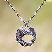 Sterling silver pendant necklace, 'Buleleng Eagle' - Sterling Silver Eagle Pendant Necklace from Java