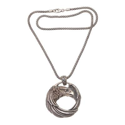 Sterling Silver Eagle Pendant Necklace from Java