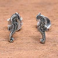 Sterling silver stud earrings, 'Sanur Seahorse' - Sterling Silver Seahorse Stud Earrings from Bali