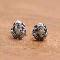 Sterling silver stud earrings, 'Sukawati Frog' - Sterling Silver Frog Stud Earrings from Bali