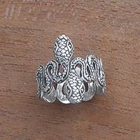 Sterling silver band ring, 'Snake Twins' - Sterling Silver Snake Band Ring from Bali