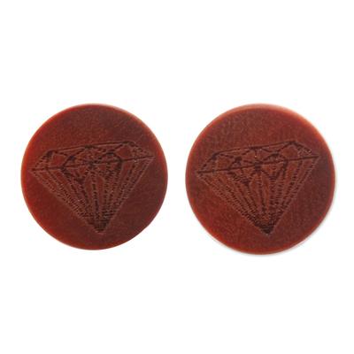 Diamond Motif Sawo Wood Stud Earrings from Bali