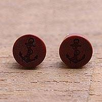 Wood stud earrings, 'Sanur Anchors' - Anchor Motif Sawo Wood Stud Earrings from Bali
