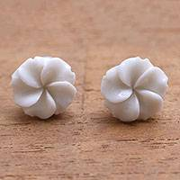 Bone stud earrings, 'Glorious Jepun' - Frangipani Flower Bone Stud Earrings from Bali