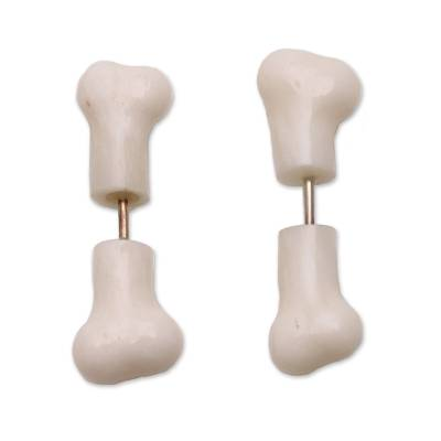Bone stud earrings, 'Magic Bones' - Hand-Carved Bone Stud Earrings from Bali
