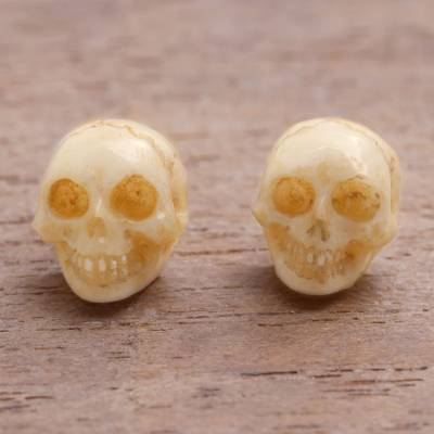 Unicef Market Hand Carved Skull Bone Stud Earrings From Bali Faces Of Trunyan