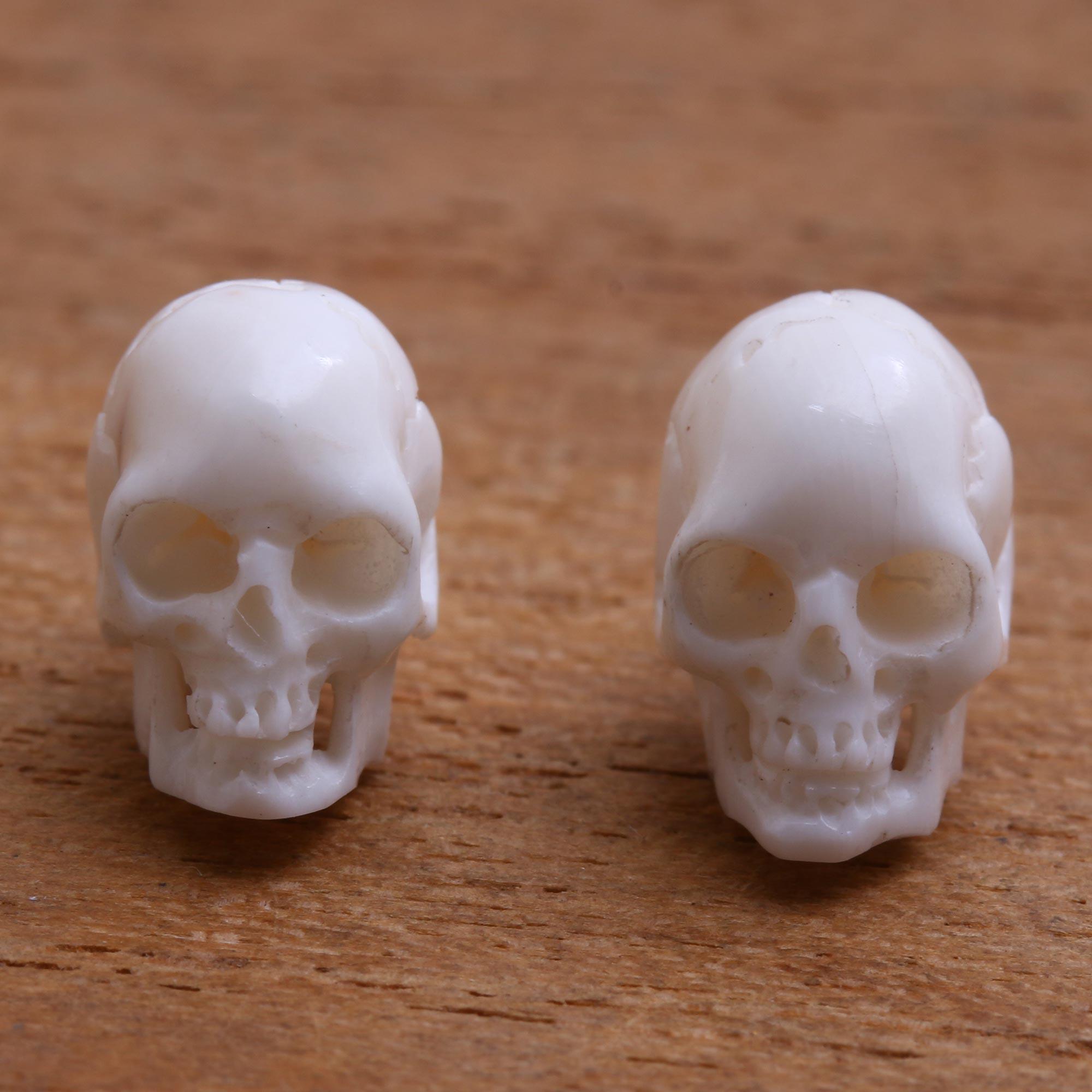 Skull Shaped Bone Stud Earrings Crafted In Bali Trunyan Skulls Novica