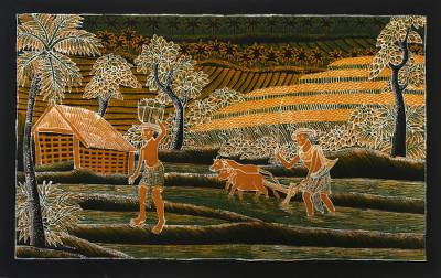 Batik cotton wall hanging, 'Farmer's Routine' - Batik Cotton Farmlife Wall Hanging from Bali