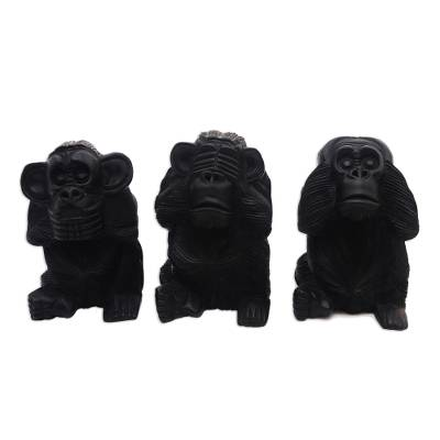 Hand-Carved Monkey Maxim Sculptures from Bali (Set of 3)