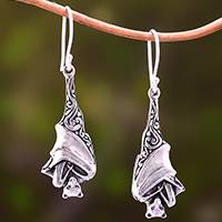 Sterling silver dangle earrings, 'Sleeping Bats' - Sterling Silver Bat Dangle Earrings from Bali