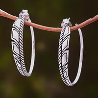 Sterling silver half-hoop earrings, 'Lovely Textures' - Patterned Sterling Silver Half-Hoop Earrings from Bali