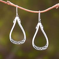 Sterling silver dangle earrings, 'Denpasar Pears' - Pear-Shaped Sterling Silver Dangle Earrings from Bali