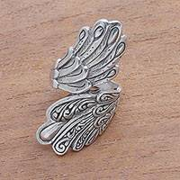 Sterling silver cocktail ring, 'Feathers of Wisdom' - Feather Motif Sterling Silver Cocktail Ring from Bali