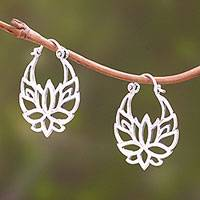 Sterling silver hoop earrings, 'Elegant Padma' (1 inch)