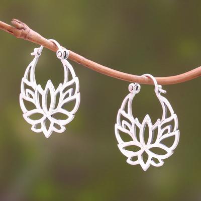 fb8a063eb2653 Sterling Silver Lotus Flower Hoop Earrings (1 inch), 'Elegant Padma'