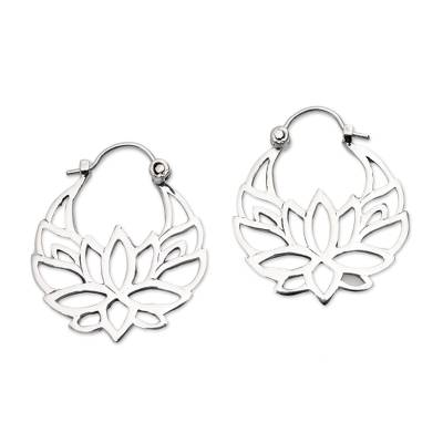Sterling silver hoop earrings, 'Elegant Padma' (1 inch) - Sterling Silver Lotus Flower Hoop Earrings (1 inch)