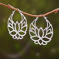 Sterling silver hoop earrings, 'Elegant Padma' (1.5 inch) - Sterling Silver Lotus Flower Hoop Earrings (1.5 inch)