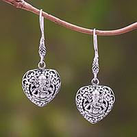 Sterling silver dangle earrings, 'Ganesha's Authority'