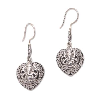 Sterling silver dangle earrings, 'Ganesha's Authority' - Sterling Silver Ganesha Dangle Earrings from Bali