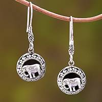 Sterling silver dangle earrings, 'Elephant Frames' - Sterling Silver Elephant Dangle Earrings from Bali