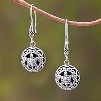 Sterling silver dangle earrings, 'Sea Turtle Duo'
