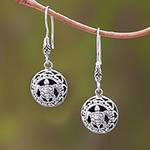 Sterling Silver Sea Turtle Dangle Earrings from Bali, 'Sea Turtle Duo'