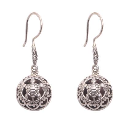 Sterling silver dangle earrings, 'Sea Turtle Duo' - Sterling Silver Sea Turtle Dangle Earrings from Bali