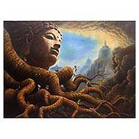 'The Root of Beauty-Borobudur' (2016) - Signed Buddha-Themed Surrealist Painting from Java (2016)