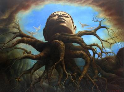 Buddha-Inspired Surrealist Painting from Java (2016)