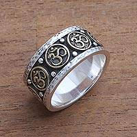 Men's sterling silver and brass band ring, 'Blessed Omkara'
