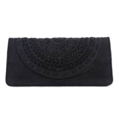 Patterned Leather Clutch in Black from Bali