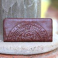 Leather clutch, 'Wulan Chestnut' - Patterned Leather Clutch in Chestnut from Bali