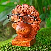 Wood eyeglasses holder, 'Little Peacock' - Wood Peacock Eyeglasses Holder from Bali