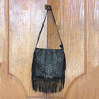 Leather shoulder bag, 'Black Java Stars'